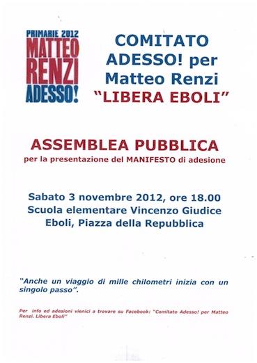 Eboli: assemblea pubblica per il comitato Renzi